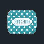 "Moonstone blue/teal polka dots custom candy tin<br><div class=""desc"">Polka dot design</div>"