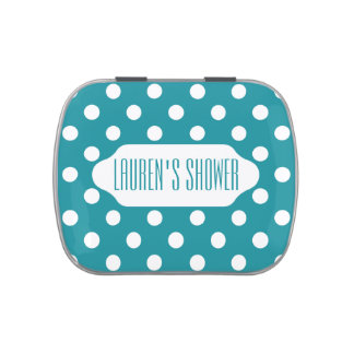 Moonstone blue/teal polka dots custom candy tin