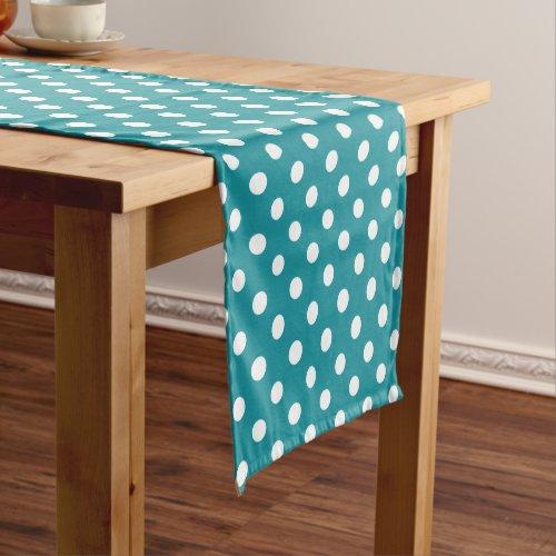 Moonstone blue/teal polka dots table runner