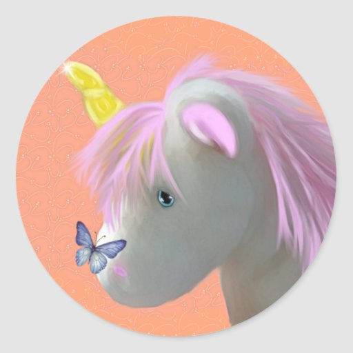Moonstone the unicorn classic round sticker