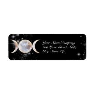 Moonstone triple de la luna etiqueta de remite