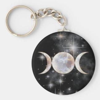 Moonstone triple de la luna llaveros personalizados