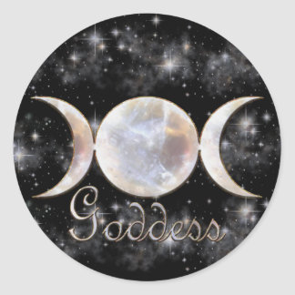 Moonstone triple de la luna pegatina redonda