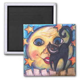 Moonstruck Underneath A Paper Moon 2 Inch Square Magnet