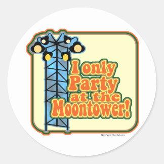 Moontower Party Round Sticker