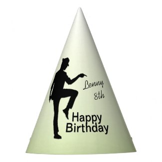 Moonwalk Dancer Name and Year Birthday Party Hat