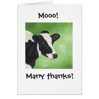 ¡Mooo! La vaca le agradece Notecard Tarjeta Pequeña