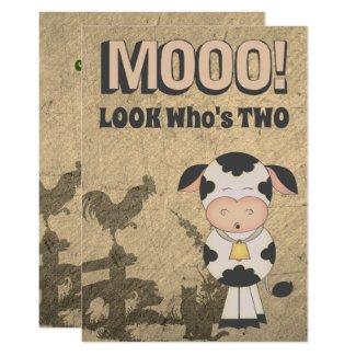 MOOO! LOOK Who's Two Vintage Cow Farm Birthday Invitation