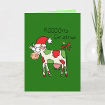 Mooooorry Christmas Cow Holiday Greeting Card