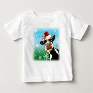 Moooootiful Christmas Cow Santa Hat Baby T-Shirt