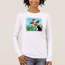 Moooootiful Christmas Cow Santa Hat Long Sleeve T-Shirt