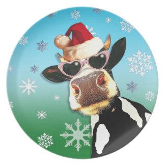 Moooootiful Christmas Cow Santa Hat Plates