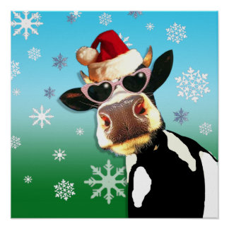 Moooootiful Christmas Cow Santa Hat Poster