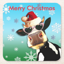 Moooootiful Christmas Cow Santa Hat Square Paper Coaster
