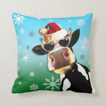 Moooootiful Christmas Cow Santa Hat Throw Pillow