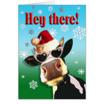 Mooootiful Christmas Cow Santa Hat Card