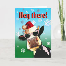 Mooootiful Christmas Cow Santa Hat Holiday Card