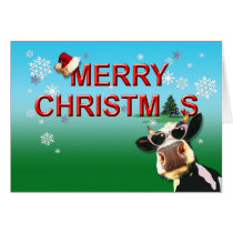 Mooootiful Merry Christmas Cow Card