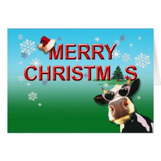 Mooootiful Merry Christmas Cow Card