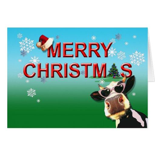Mooootiful Merry Christmas Cow Greeting Card