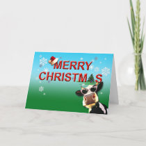Mooootiful Merry Christmas Cow Holiday Card