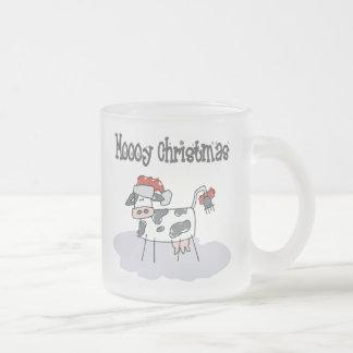 Moooy Christmas Frosted Glass Coffee Mug