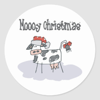 Moooy Christmas Round Stickers
