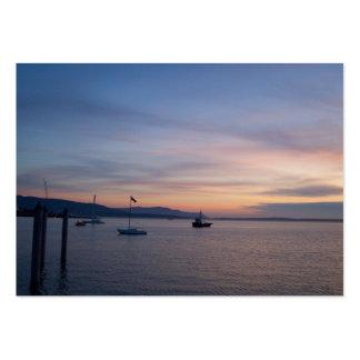 Moorage de la puesta del sol tarjetas de visita grandes