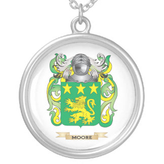 Moore Coat of Arms (Family Crest) Silver Plated Necklace