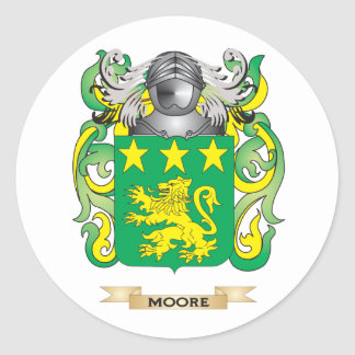 Moore Coat of Arms Family Crest Round Sticker
