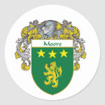 Moore Coat of Arms (Mantled) Classic Round Sticker