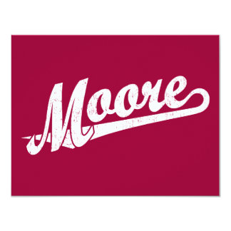 Moore script logo in white distressed card
