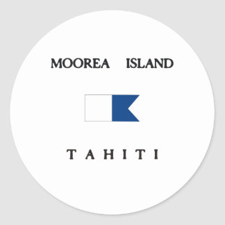 Moorea Island Tahiti Alpha Dive Flag Classic Round Sticker