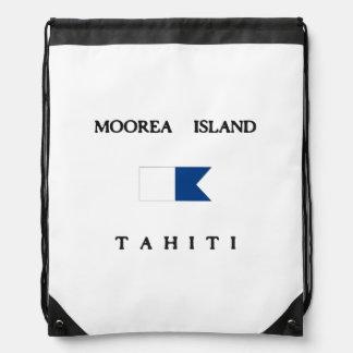 Moorea Island Tahiti Alpha Dive Flag Drawstring Bag