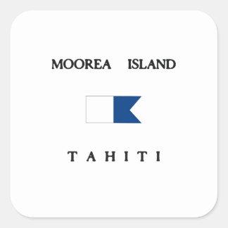 Moorea Island Tahiti Alpha Dive Flag Square Sticker