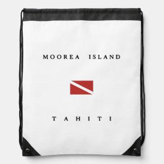 Moorea Island Tahiti Scuba Dive Flag Drawstring Backpack