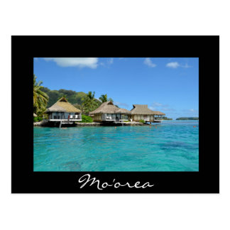 Moorea overwater vacation bungalows postcard