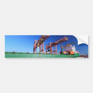 moored container ship bumper sticker