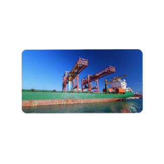 moored container ship label