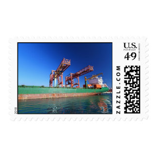 moored container ship postage stamp