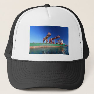 moored container ship trucker hat