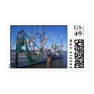 Moored Shrimp Boats Postage