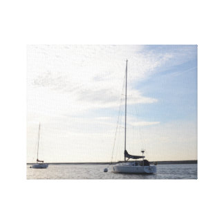 Moored Yacht At Dawn Print Gallery Wrapped Canvas