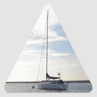 Moored Yacht At Dawn Triangle Sticker