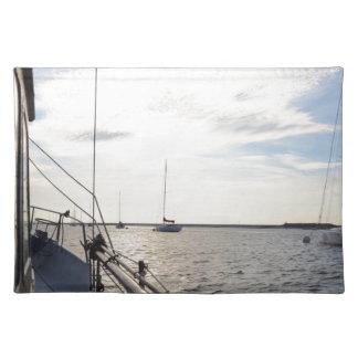 Moored Yachts At Dawn Place Mats