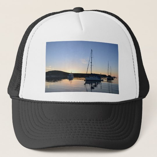 Moored Yachts At Dusk Trucker Hat