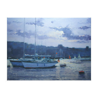 Moored yachts late afternoon canvas print