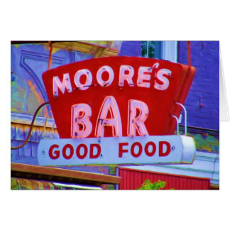Moore's Bar Retro sign, Greencastle, Indiana Greeting Card