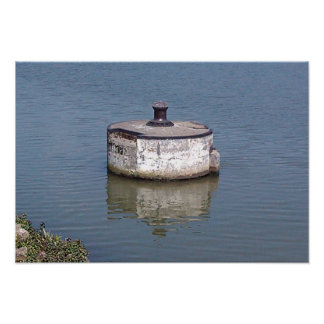 Mooring Buoy in river, waiting for boats, Poster