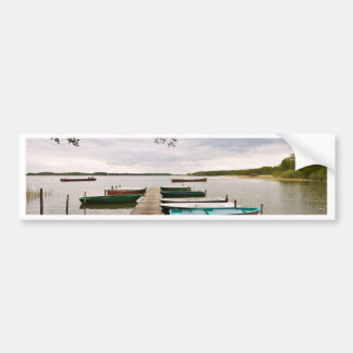 Moorings with boats on a lake bumper sticker